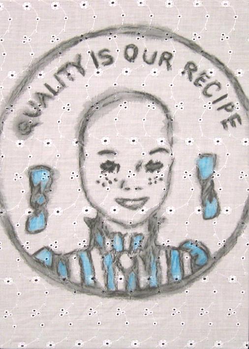 "DEAD DADDY DEAREST (10""X 14"") WATERCOLOR, ACRYLIC & FABRIC ON PANEL"