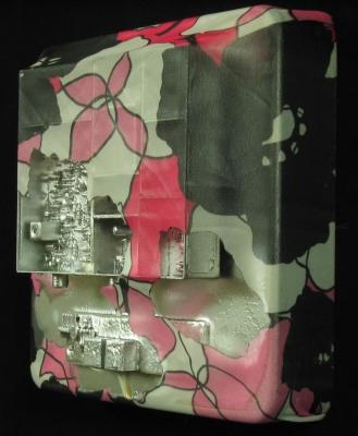 "EXTERNAL OTITIS (6""X 6"") ENAMEL, ACRYLIC, CIRCUIT BOARD & FABRIC ON PANEL"