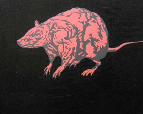 "RETURN OF THE RAT (20""X 24"") ACRYLIC ON VINYL"