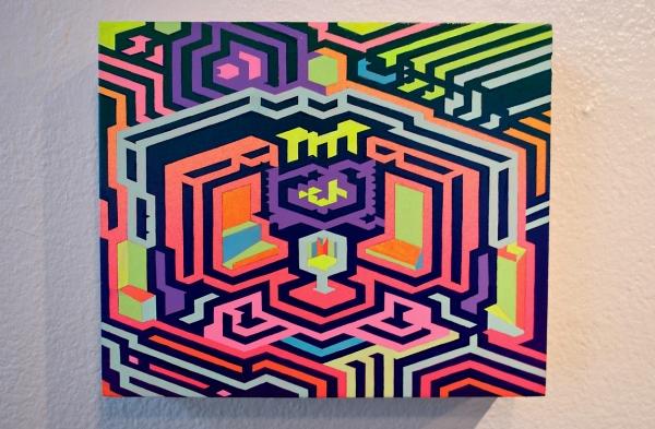 """Acrylic, Gouache on Panel (10""""x12""""x3"""")"""