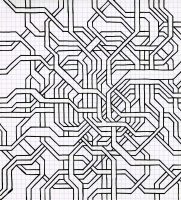 "TNAGLED TANGIBLY (8.25""x7.5"") SHARPIE ON VELLUM PAPER"